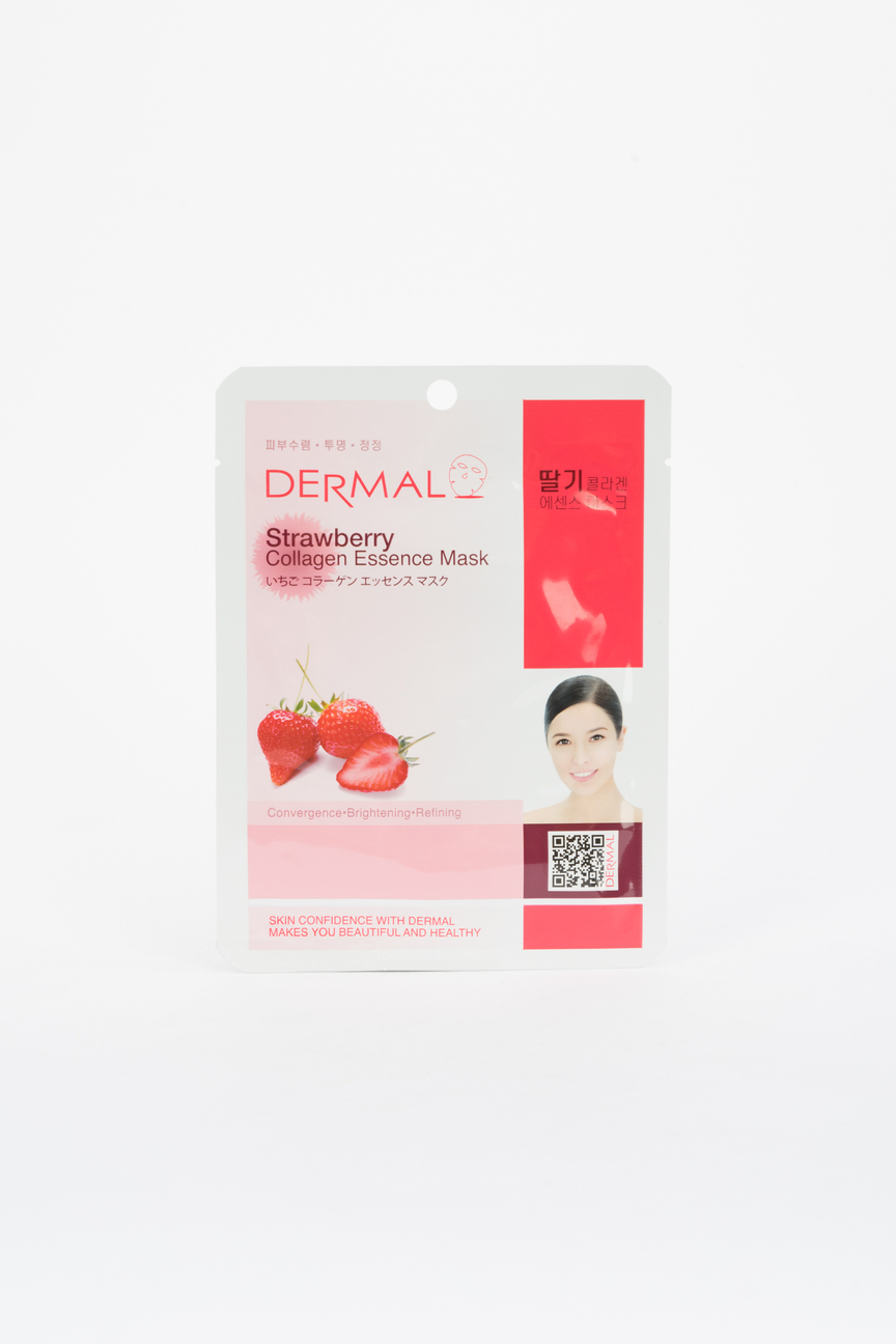 Тканевая маска для лица Strawberry Collagen Essence Mask, клубника и коллаген Dermal Цвет: Нет цвета